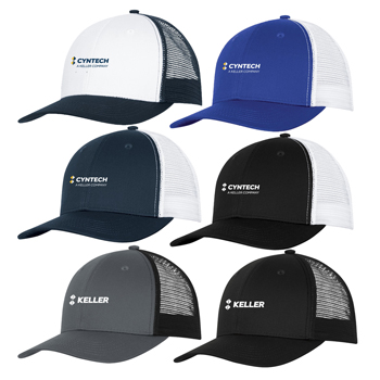 ATC<sup>™</sup> Snapback Trucker Cap - This 6-panel cap has mesh mid and back panels for superior ventilation and a trend-right snapback closure for an easily adjustable fit.