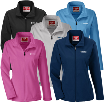 Team 365 Ladies' Leader Soft Shell Jacket - Soft shell jacket made from 8.8 oz., 94% polyester, 6% spandex.