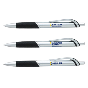 Jive Pen - Retractable ballpoint pen with metallic barrel and textured rubber grip.