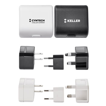 Gobbi Travel Adapter Kit - Kit includes three AC power adapters to charge electronic devices in most countries that supports an input/output voltage of (Max.) 100-125V-6A and (Max.) 220-250V-3A.