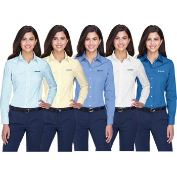 Devon & Jones Ladies' Crown Woven Collection<sup>™</sup> Solid Oxford - Classic oxford for professional appearance. Made from 4.1 oz., 60% cotton, 40% polyester.