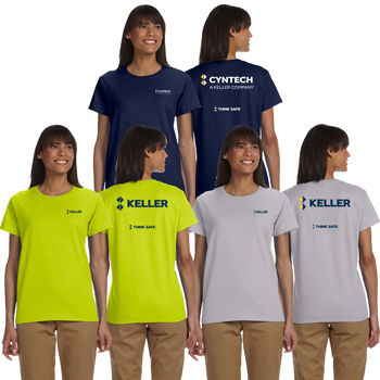 Gildan Ladies' Ultra Cotton<sup>®</sup> 10 oz T-Shirt - Preshrunk cotton t-shirt with a narrow ribbed neck, double-needle stitching throughout, shoulder-to-shoulder taping, and feminine fit.
