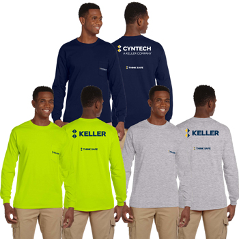 Gildan Adult Ultra Cotton<sup>®</sup> 10 oz. Long-Sleeve Pocket T-Shirt - Preshrunk cotton long-sleeve t-shirt with a five-point left-chest pocket, double-needle stitching throughout, and shoulder-to-shoulder taping.